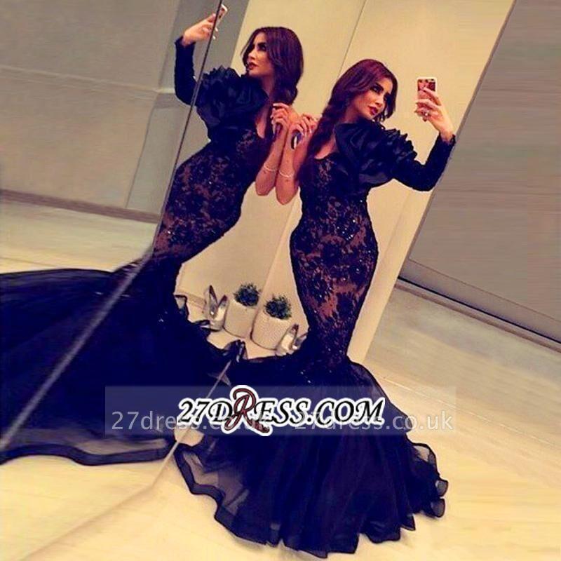 Elegant Black Long Sleeve Mermaid Prom Dress UK Lace Appliques Beadings BA2189
