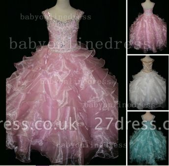Formal Cheap Pageant Dresses for Girls with Beauty Customized Beaded Flower Girls Gowns for Sale