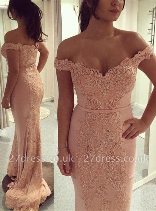 Gorgeous Off-the-Shoulder Mermaid Evening Dress UK Lace Appliques On Sale BA7426