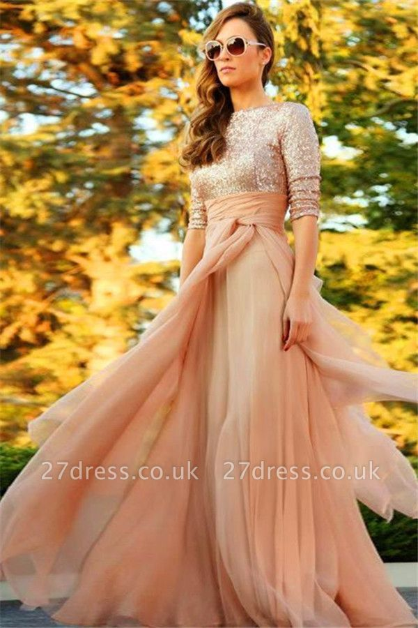 Stunning Sequins Long Evening Dress UK Half Sleeves Prom Gown