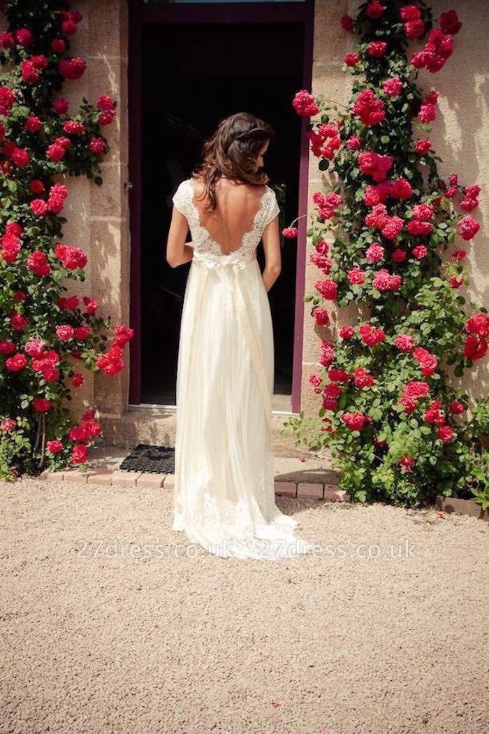 Gorgeous Lace Long  Wedding Dress Cap Sleeve