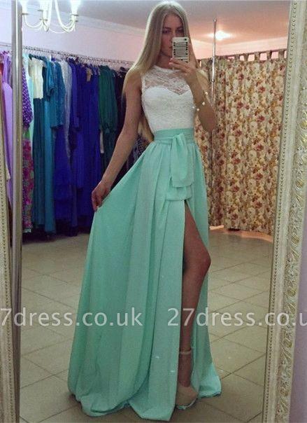 Sexy Lace Chiffon A-line Prom Dress UK Front Split Illusion