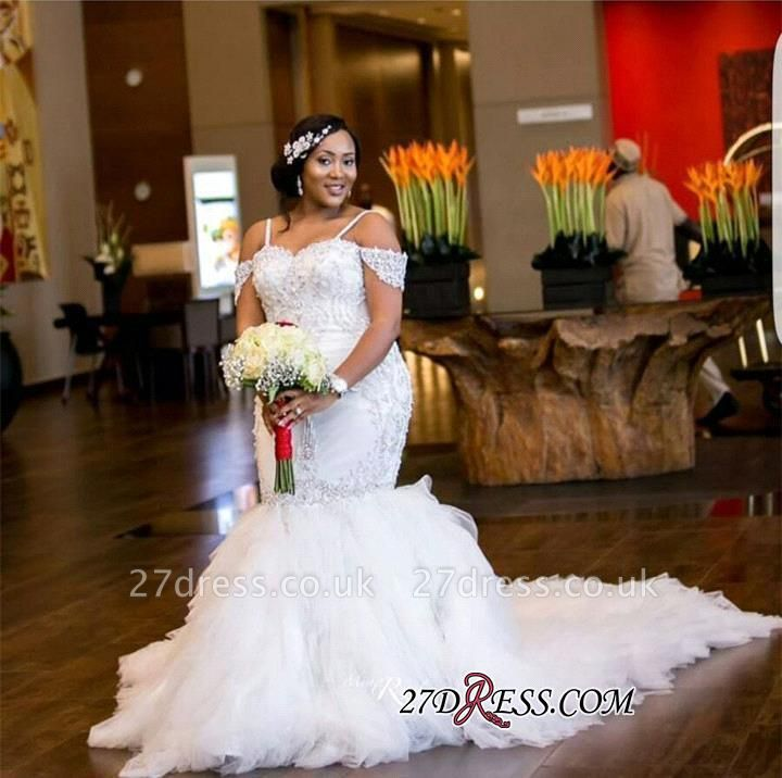 Plus-Size Lace Cap-Sleeve Appliques Sexy Mermaid Gorgeous Wedding Dress