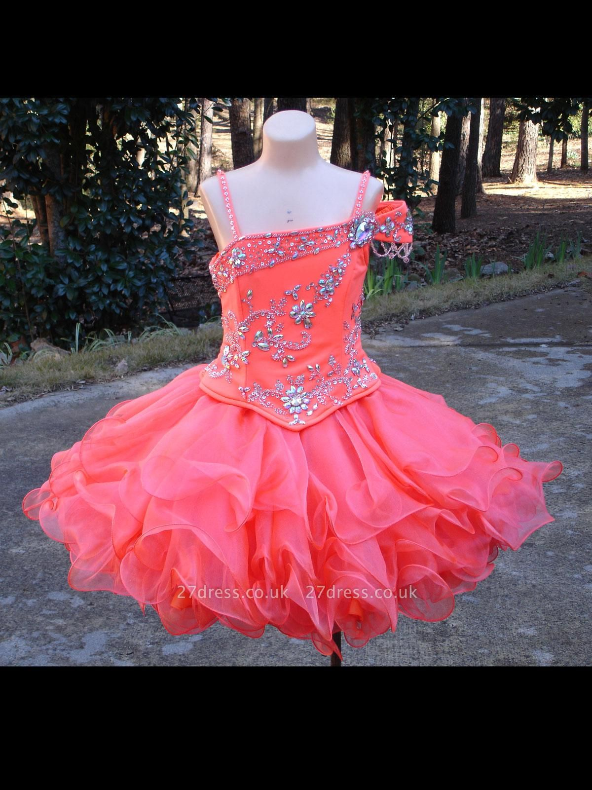 Lovely One SHoulder Flower Girl Dress UK With Crystals