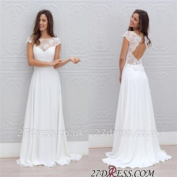 Simple A-line Backless Sweep-train Chic Short-Sleeves White Wedding Dress