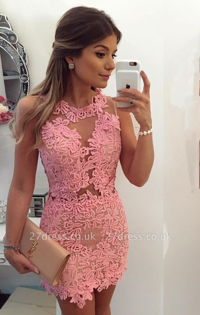 Pink Sleeveless 2019 Homecoming Dress UK | 2019 Short Party Dress UK Online
