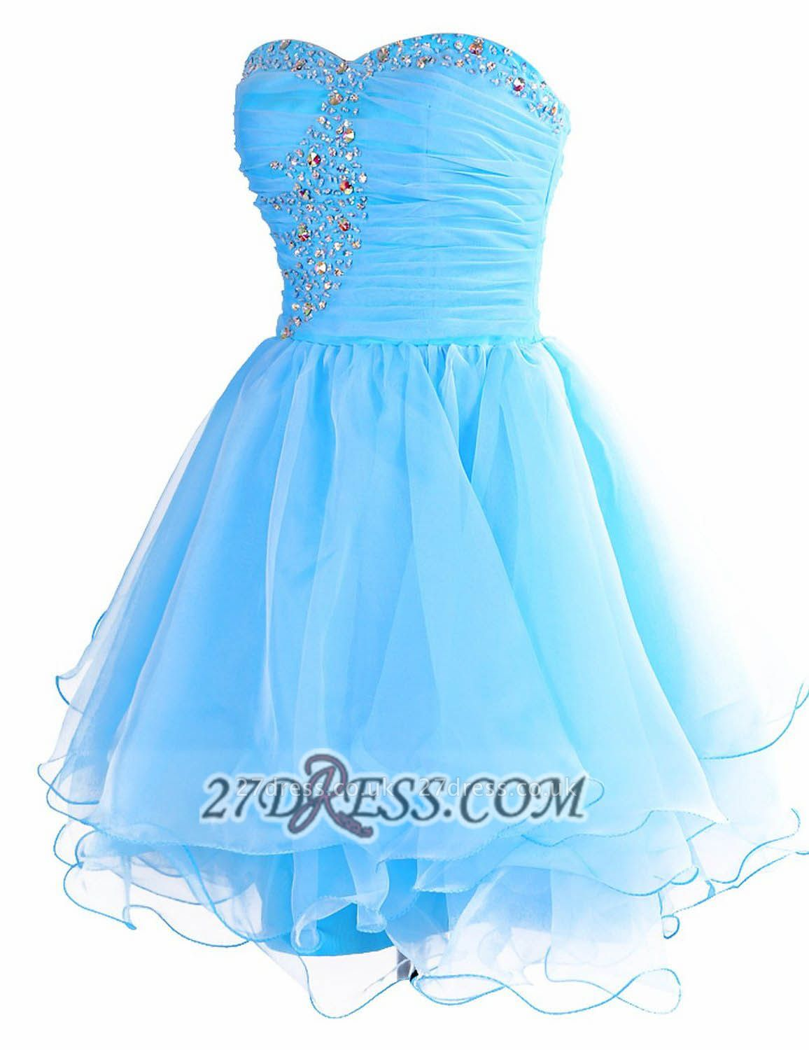 Pretty Semi-sweetheart Sleeveless Short Homecoming Dress UK Lace-up Crystals Organza Cocktail Gown