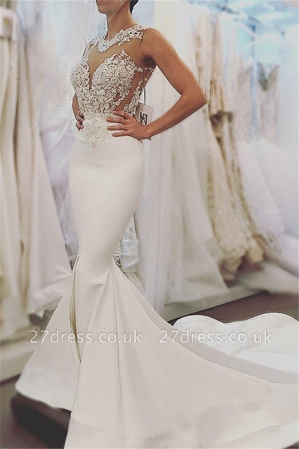 Elegant Sexy Mermaid Sleeveless Wedding Dresses UK Cheap Open Back Lace Wedding Dress Online