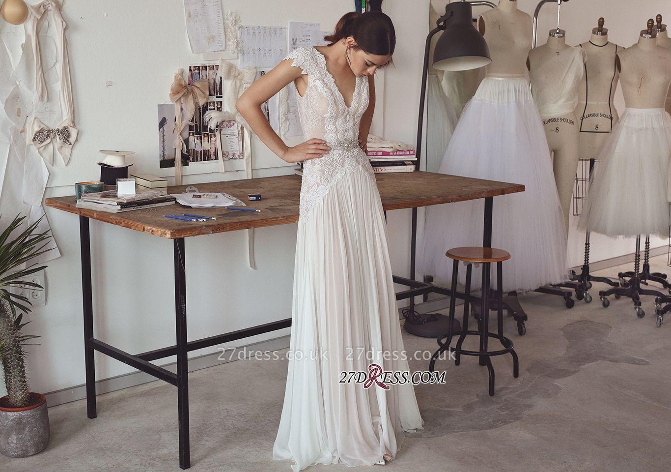 Long Elegant Cap-Sleeve Lace Crystal Lace Wedding Dress