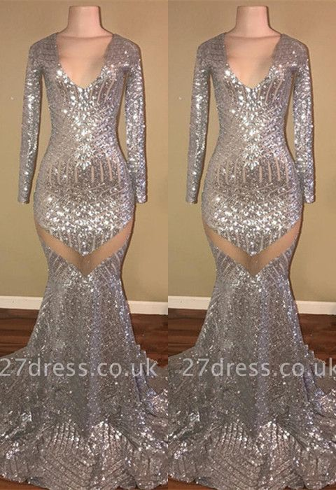 Long Sleeve Sequins Prom Dress UK | Mermaid V-Neck Evening Gowns