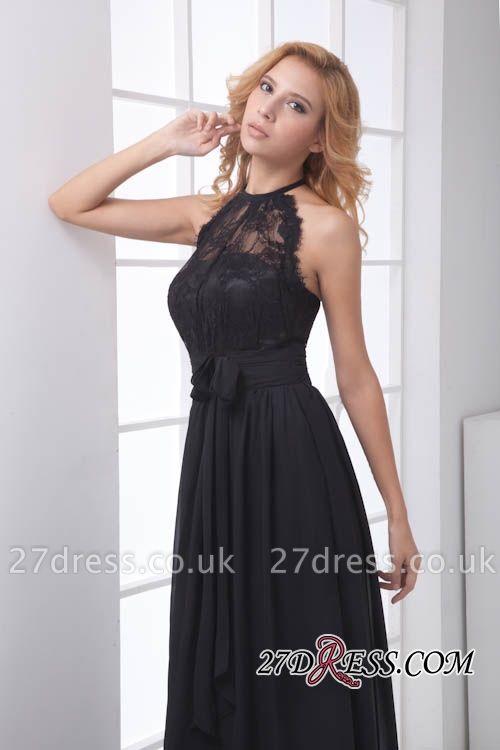 Sleeveless Sash Floor-length Black Lace Modern A-line Bridesmaid Dress UK