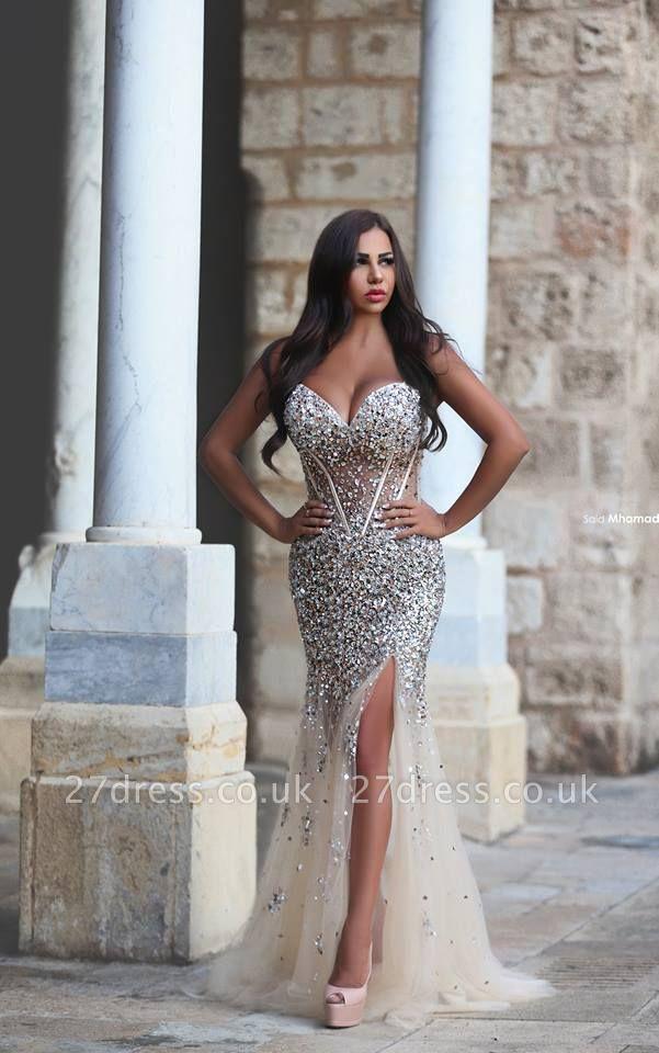 Gorgeous Mermaid Front Split Tulle Prom Dress UK Beadings