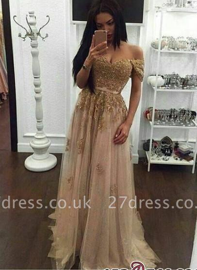 Elegant Gold A-line Long Appliques Off-the-Shoulder Prom Dress UKes UK BA4856