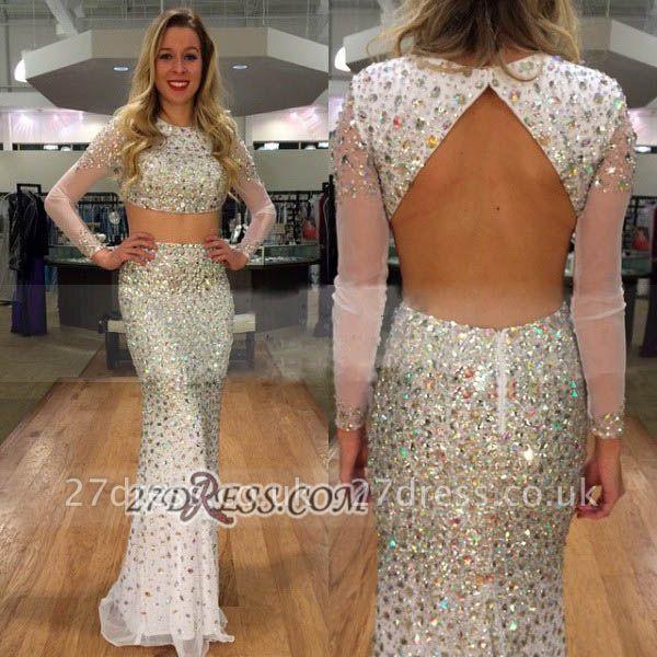 Elegant Jewel Long Sleeve Prom Dress UK With Beadings Crystals