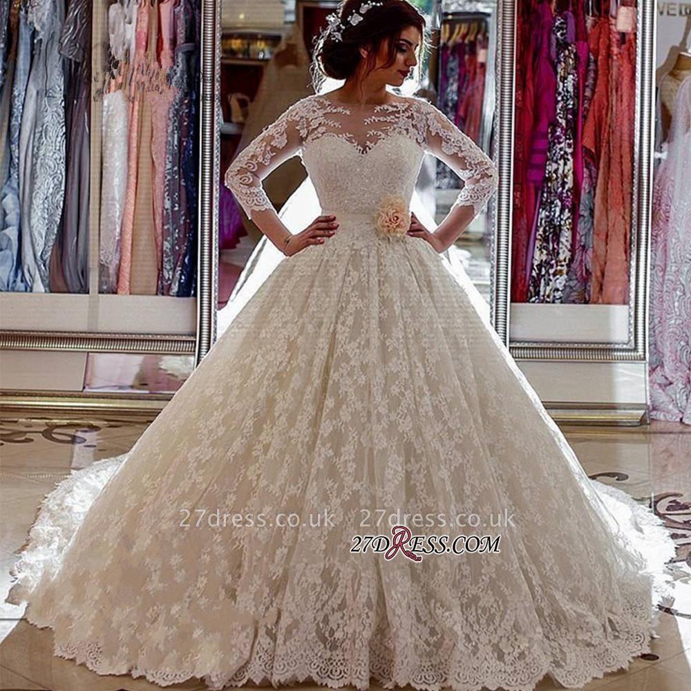 Vintage Illusion Arabic Church-Train Sleeves Sheer Lace Long Ball-Gown Wedding Dress