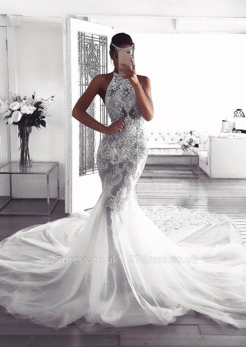 Pretty Halter Sexy Mermaid Wedding Dress | 2019 Lace Bridal Wears