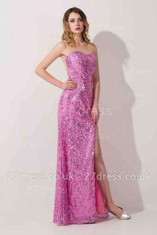 Gorgeous Sequins Front Split Evening Dress UK Sweetheart Sleeveless Floor-length