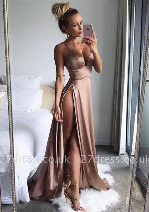 Elegant Spaghetti-Straps Split Long Prom Dress UK Women's Party Gowns BA7528