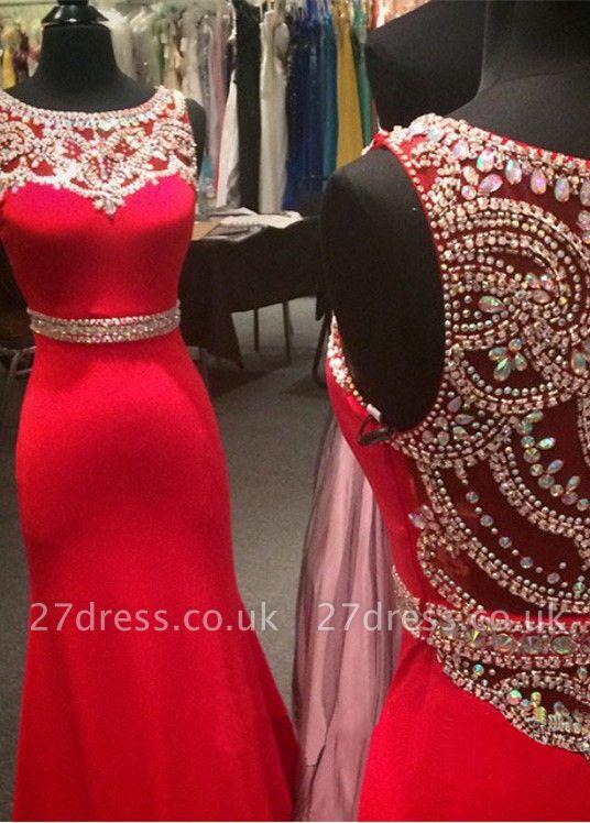 Modern Red Crystals Mermaid Prom Dress UK Illusion Sleeveless