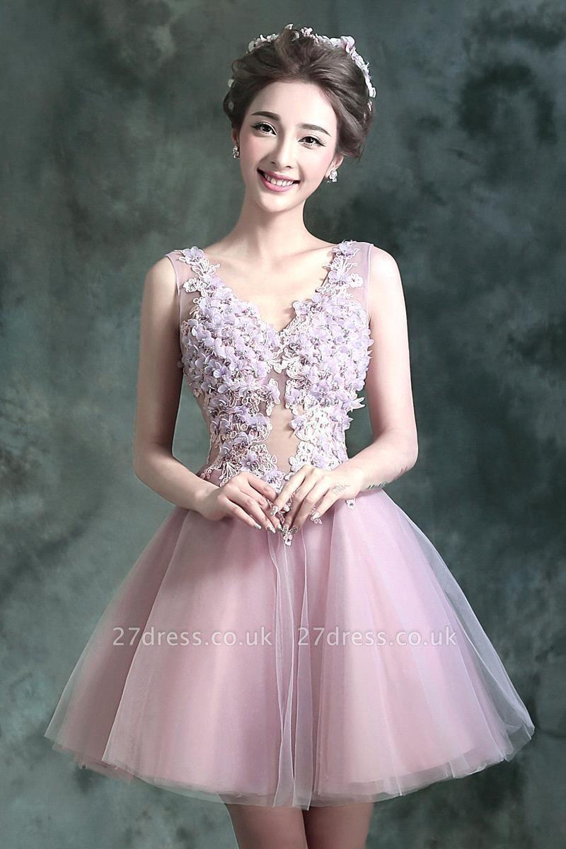 beautiful V-neck Homecoming Dress UK Sleeveless Short With Flowers