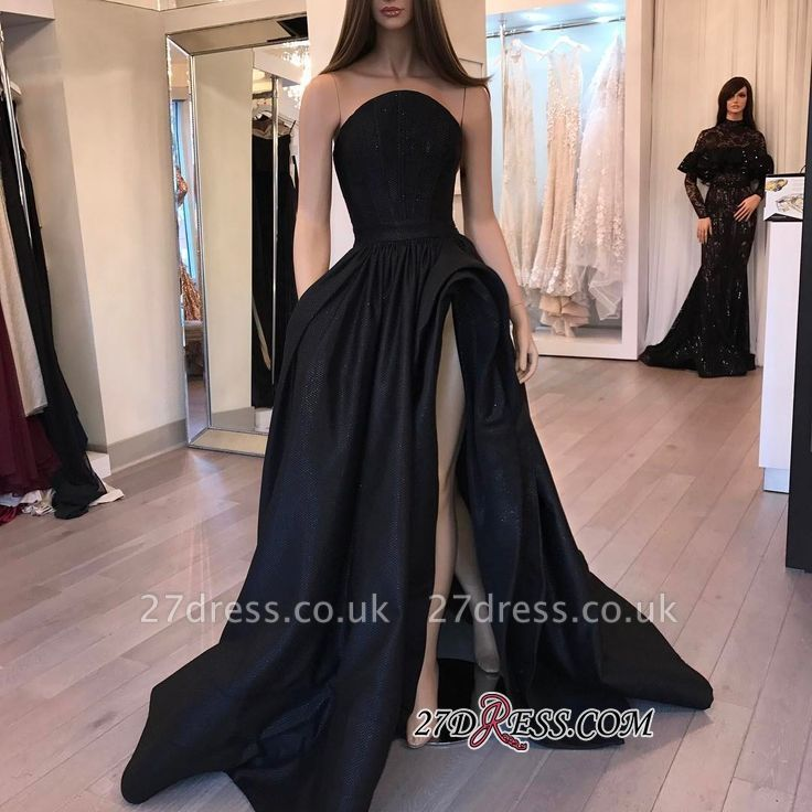 Sleeveless Slit Elegant Designer Black Evening Dress UK