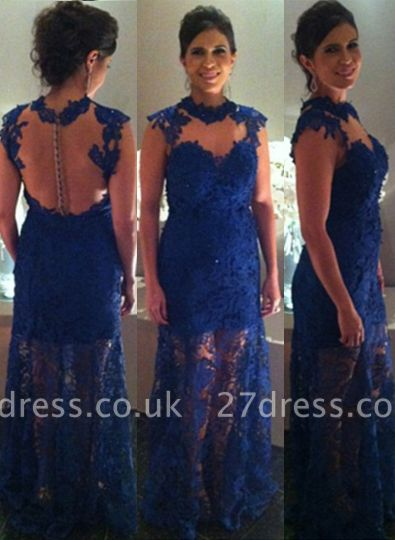 Proms Party Gorgeous Long Dress UKes UK for Evening Blue Lace Sleeveless High-neck Womans Gowns