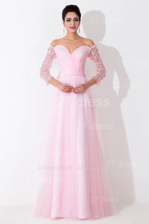 Modern Off-the-shoulder A-line Evening Dress UK Crystals Zipper Floor-length