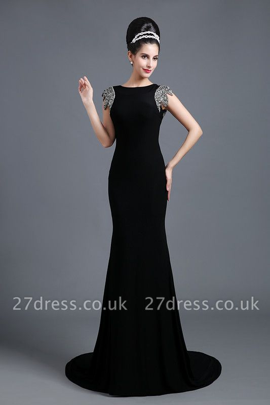 Sexy Jewel Cap Sleeve Black Prom Dress UK With Sequins Beadings