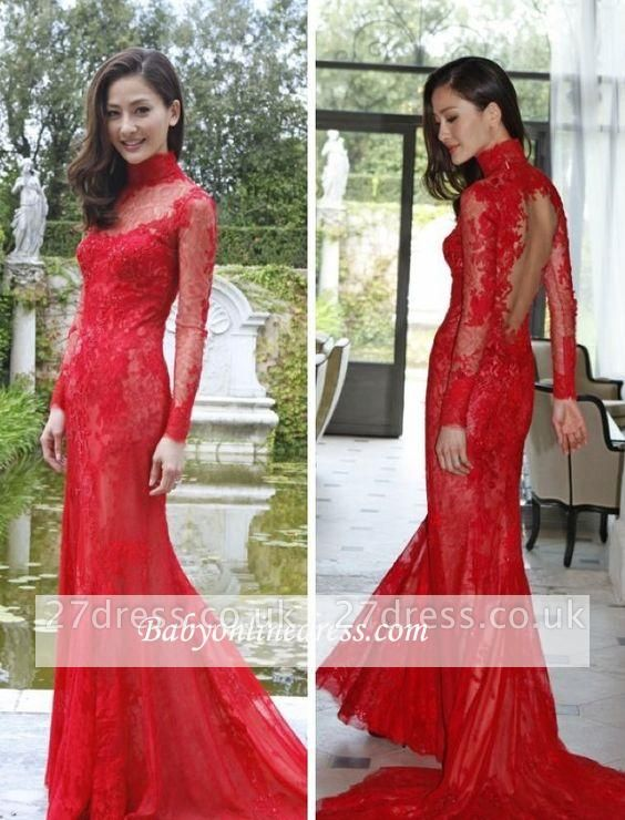 High-Neck Long-Sleeve Mermaid Newest Lace Red Prom Dress UK