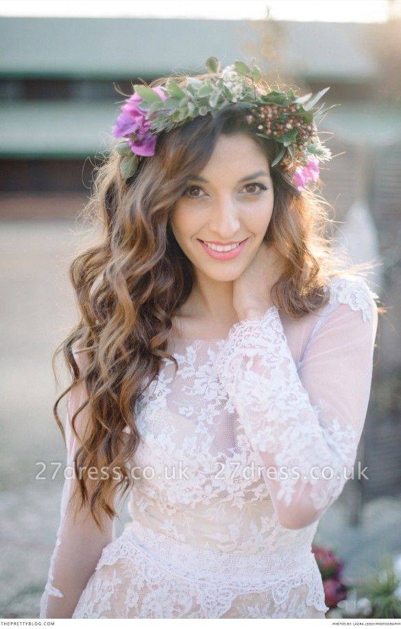 Delicate  Lace Appliques Wedding Dress Long Sleeve