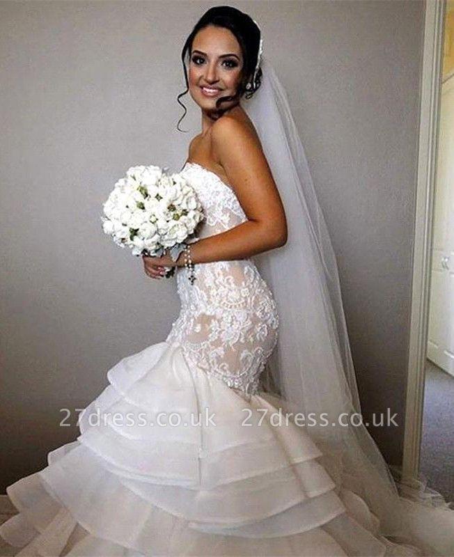 Stunning Sweetheart Sexy Mermaid Lace Wedding Dress Ruffles Layered
