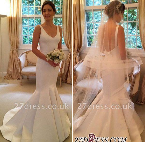 Elegant V-Neck Open-Back Sexy Mermaid Sleeveless Wedding Dress