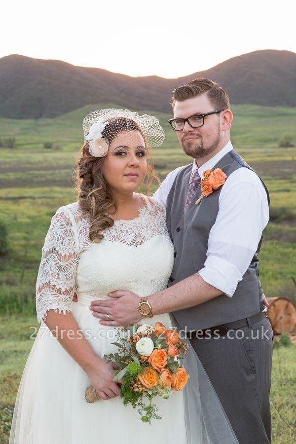 Elegant Lace Illusion Half Sleeve Wedding Dress Plus Size A-line