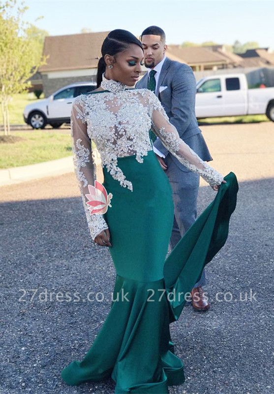 High-Neck Green Lace Prom Dress UK   Mermaid Long-Sleeve Evening Gowns