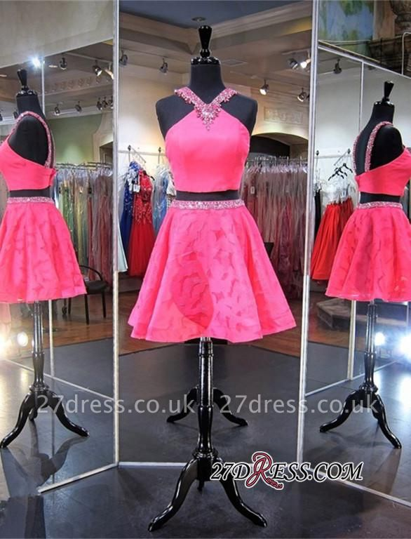 Mini Sleeveless A-line Beads Newest Two-Piece Straps Homecoming Dress UK