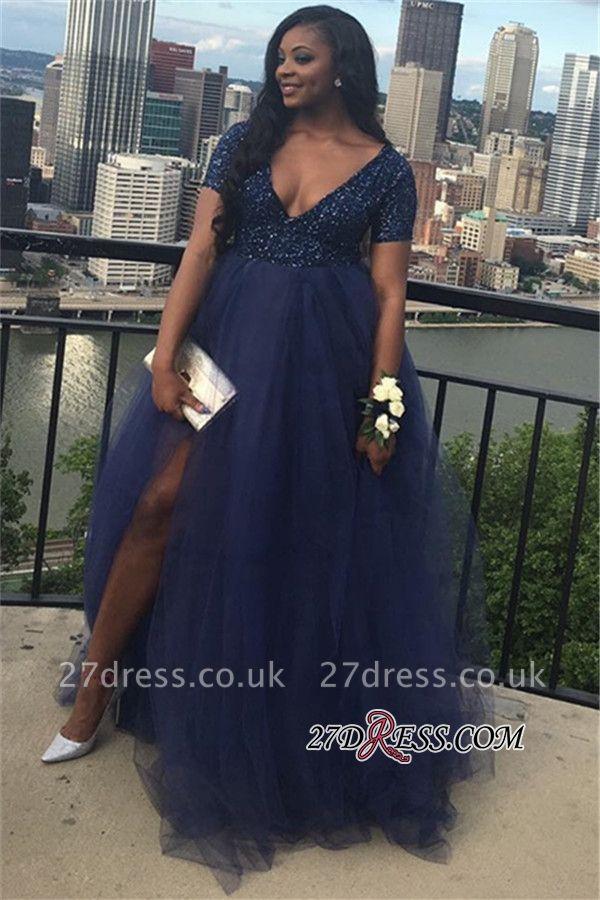 Short sleeve prom Dress UK, evening Dress UK with slit BK0
