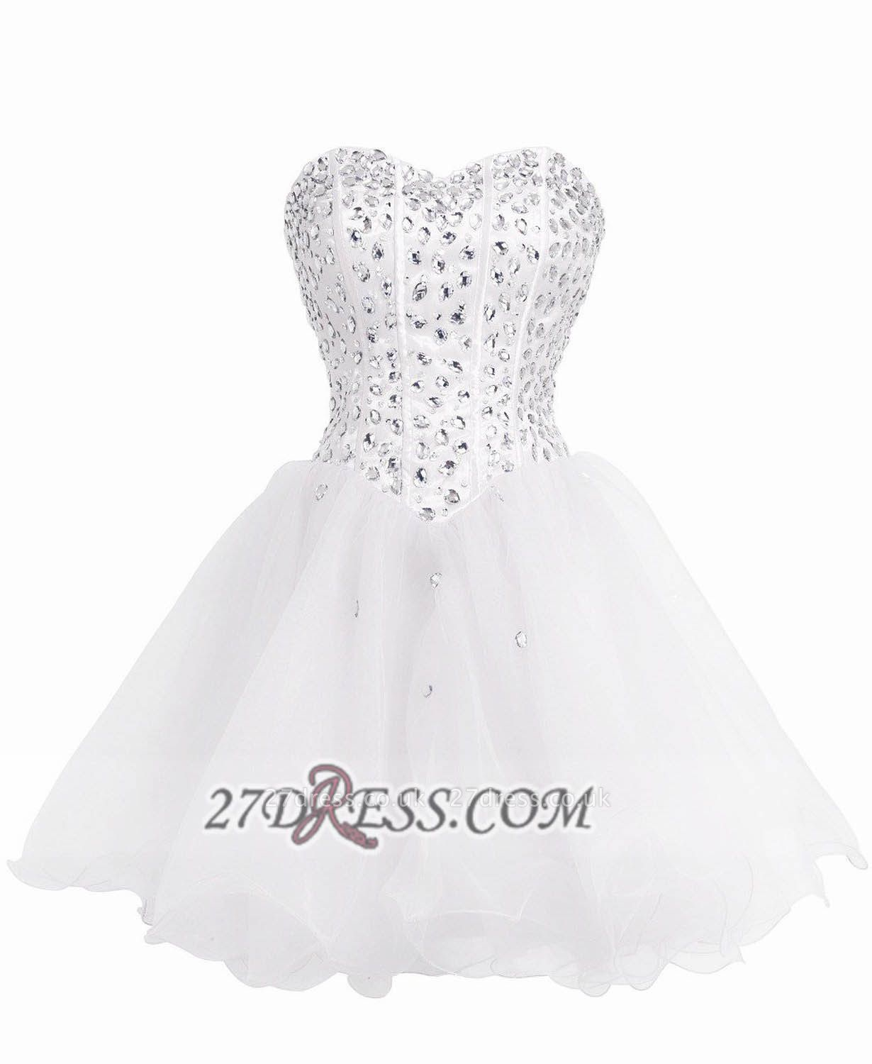 Luxurious Sweetheart Sleeveless Cocktail Dress UK Lace-up Crystals Short White Homecoming Gown BA8930
