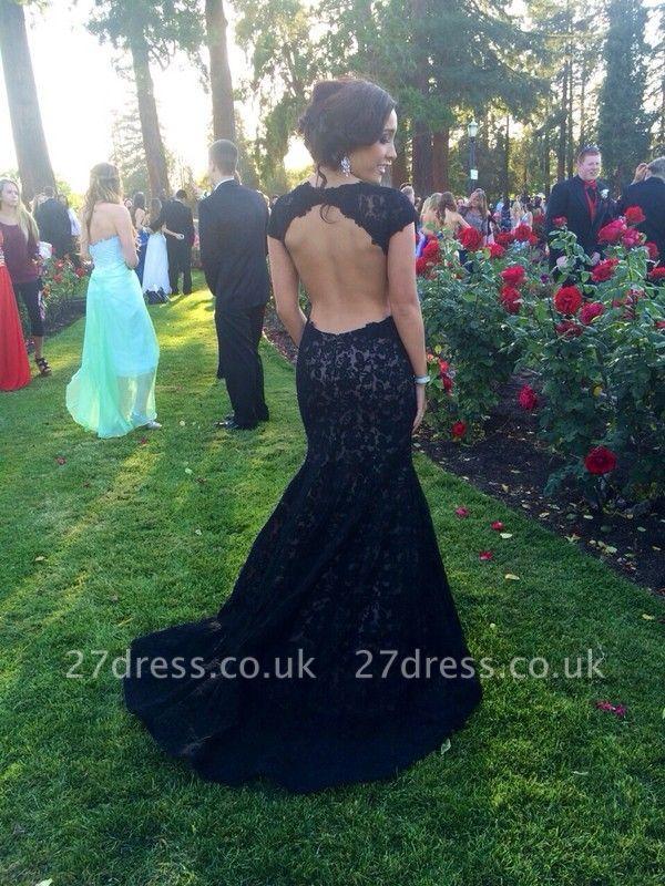 Modern Lace Black Mermaid Prom Dress UK Sweep Train Cap Sleeve