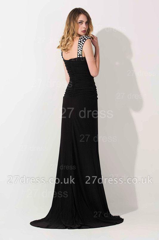 Modern Black Mermaid Chiffon Evening Dress UK Straps Crystals