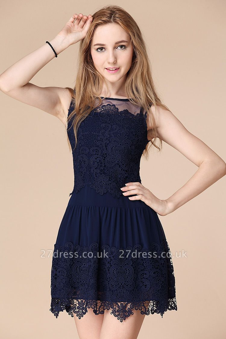 Newest Illusion Sleeveless Short Homecoming Dress UK With Lace