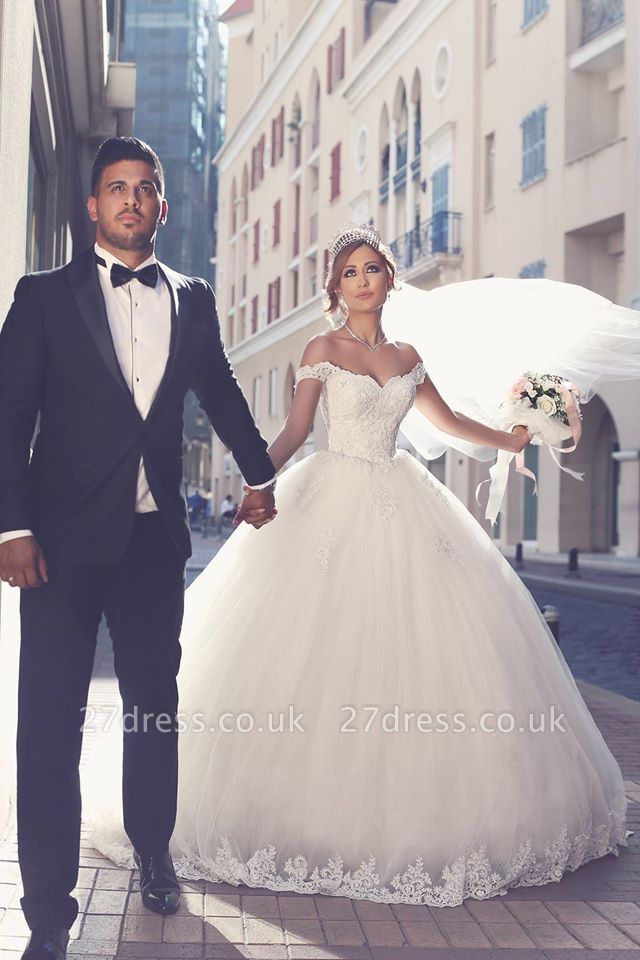 Elegant Off-the-shoulder Lace Wedding Dress Tulle Ball Gown Floor Length BA3477