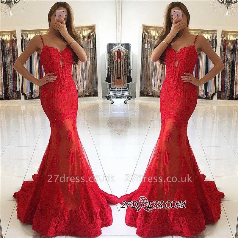 Red Mermaid Spaghetti-Strap Lace Luxury Evening Dress UK