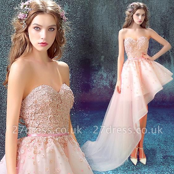 Luxury Sweetheart Flower Appliques Cocktail Dress UK HI-Lo Lace-Up