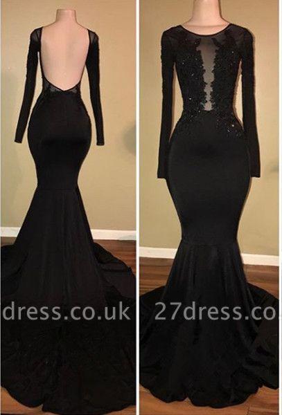 Elegant Black Mermaid Prom Dress UK Long Sleeve With Lace Appliques BA7880