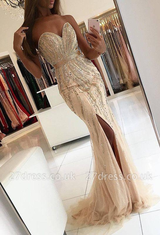 Luxury Sweetheart Evening Dress UK Mermaid Front Split With Beadings BA9009