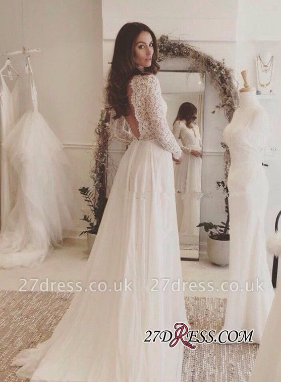 Long-Sleeves   V-neck Lace Wedding Dress BA4172