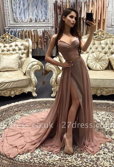 Sexy Sweetheart Sleeveless Mermaid Prom Dress UK Chiffon With Slit BA9180