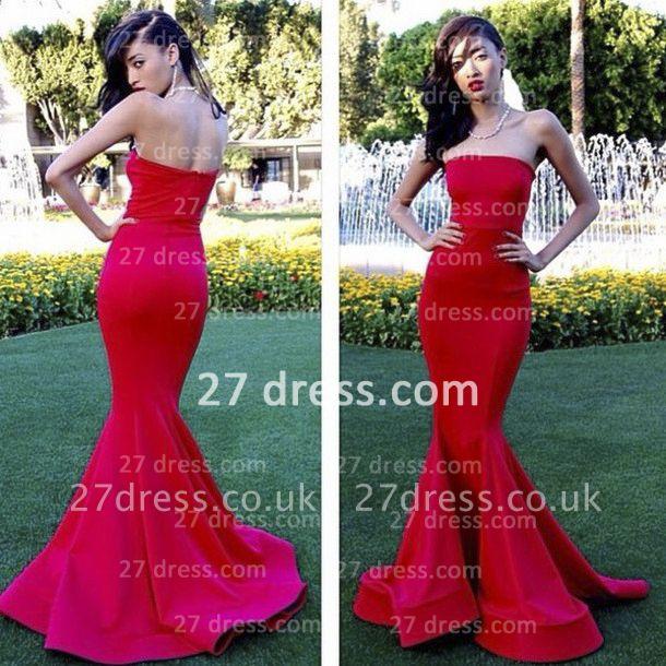 Elegant Red Strapless Prom Dress UK Mermaid Satin Evening Gowns
