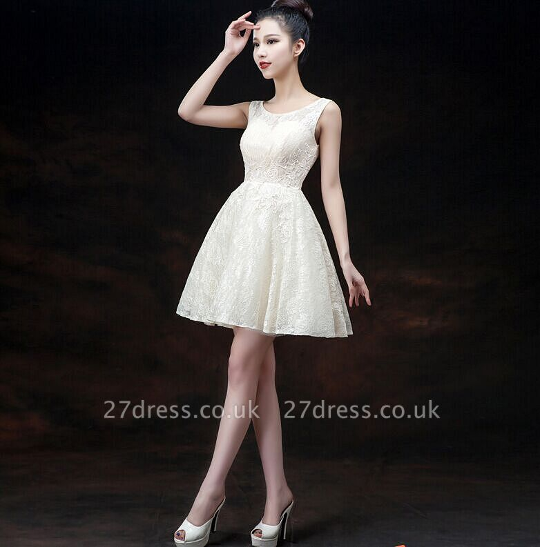 Modern Illusion Sleeveless Short Homecoming Dress UK Lace-up With Appliques