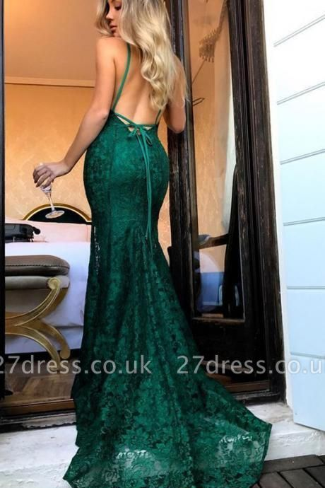 Green lace prom Dress UK, mermaid evening gowns